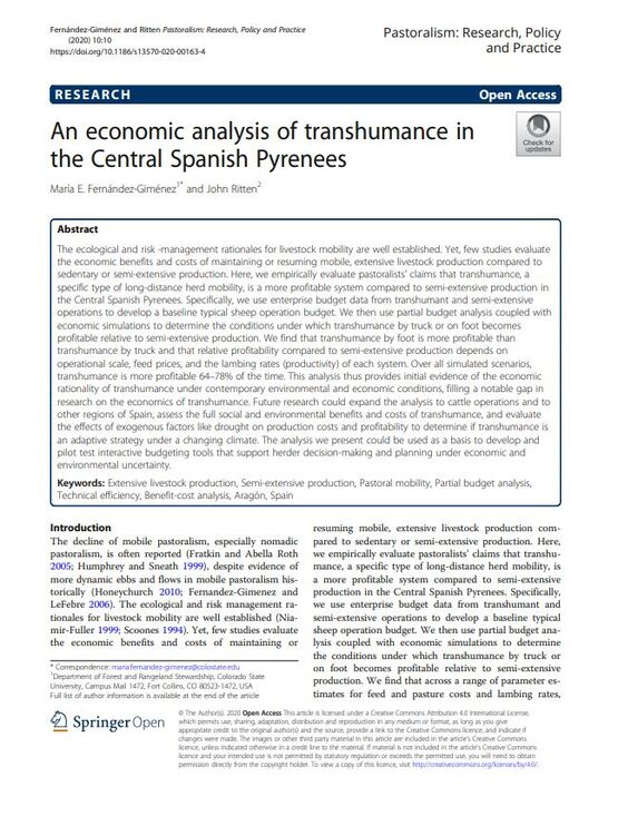 An Economic Analysis of Transhumance in the Central Spanish Pyrenees