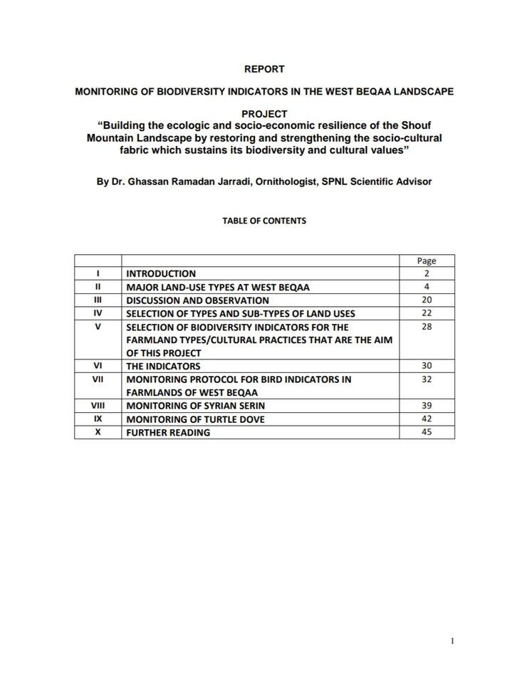 Monitoring of Biodiversity Indicators in the West Bekaa Landscape