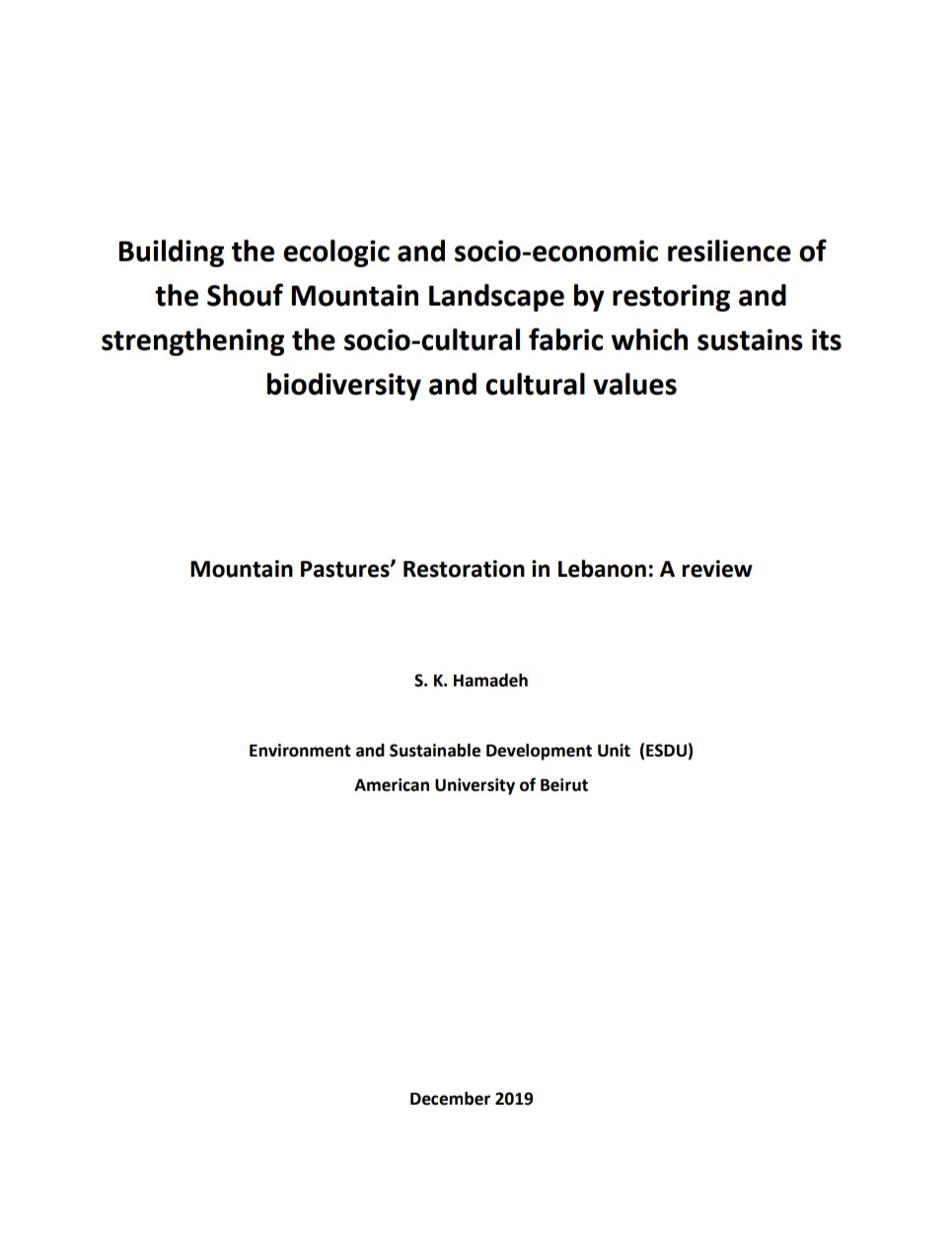 Mountain Pastures' Restoration in Lebanon: A review