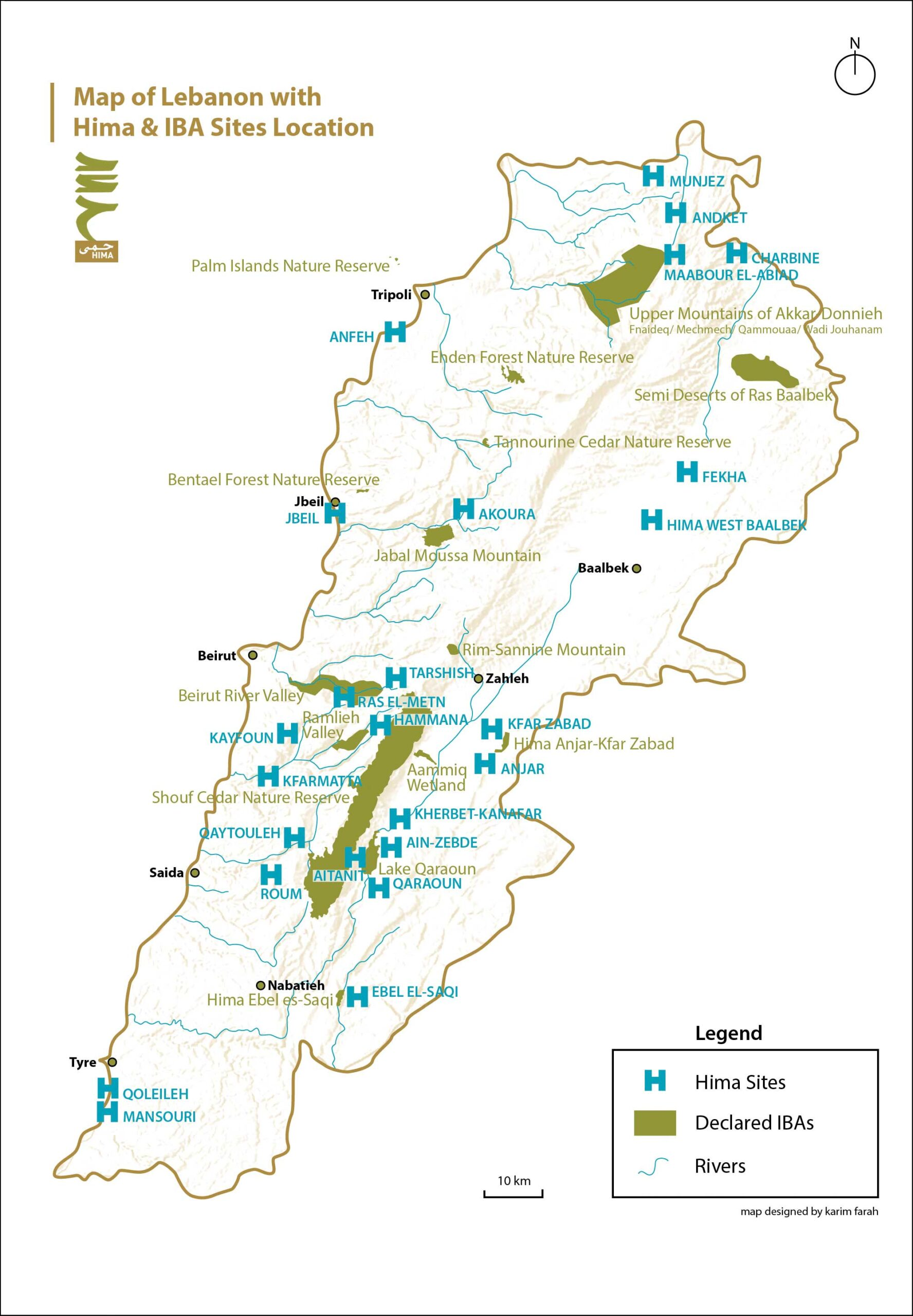Map of Lebanon with Hima & IBA Sites Location   West Bekaa & Mount Lebanon Cultural Landscapes